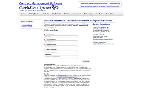 Screenshot of Signup Page cobblestonesystems.com - Free Demo of Contract Management Software - captured Oct. 2, 2014