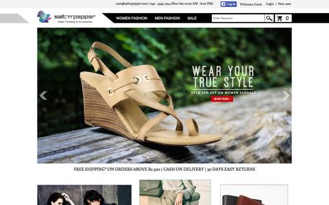 Screenshot of Home Page saltnpepper.com - Online Shoe Store | Buy Shoes Online for Women and Men in India | saltnpepper.com - captured Feb. 18, 2016