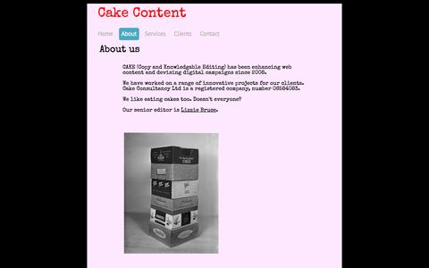 Screenshot of About Page cakecontent.com - About - cake consultancy ltd - captured Oct. 1, 2014