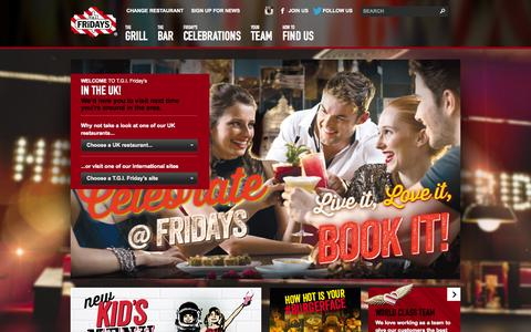 Screenshot of Home Page About Page tgifridays.co.uk - T.G.I. Friday's  - Home - captured Sept. 24, 2014