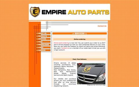 Screenshot of Services Page empireauto.biz - EMPIRE AUTO PARTS, INC. - captured Oct. 2, 2014