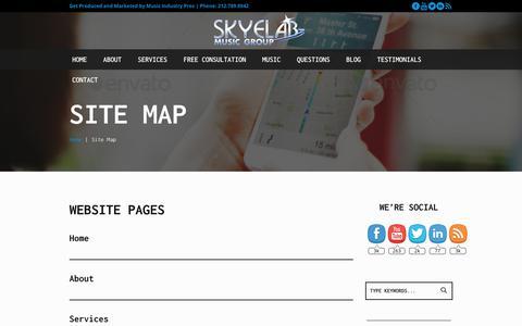 Screenshot of Site Map Page skyelabmusic.com - Site Map - SkyeLab Music Group - captured Nov. 14, 2017
