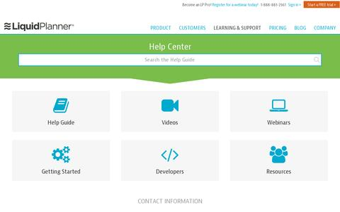 Screenshot of Support Page liquidplanner.com - Learning and Support – LiquidPlanner - captured July 20, 2014