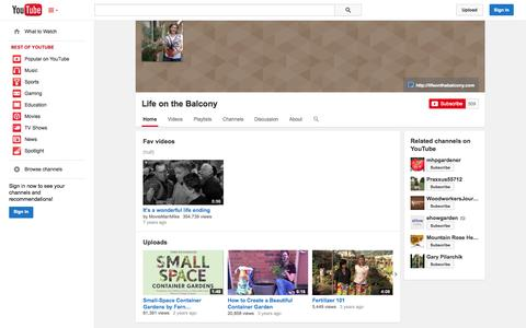 Screenshot of YouTube Page youtube.com - Life on the Balcony  - YouTube - captured Oct. 22, 2014