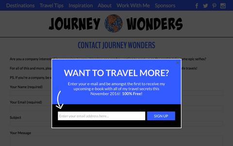 Screenshot of Contact Page journeywonders.com - Contact | Journey Wonders - captured Dec. 3, 2016