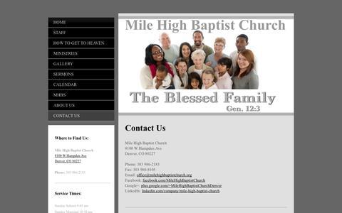 Screenshot of Contact Page milehighbaptistchurch.org - Contact Us - Mile High Baptist Church † Denver, CO - captured Oct. 9, 2014