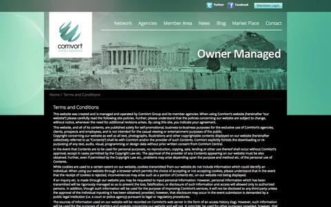 Screenshot of Terms Page comvort.com - Terms and Conditions | Comvort - captured Sept. 19, 2014