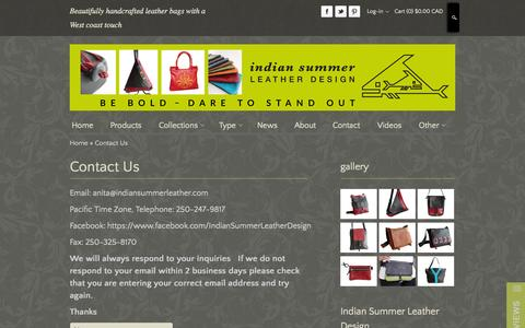 Screenshot of Contact Page indiansummerleather.com - Ladies Bags | Ladies Leather Bags | Leather Bags - captured Oct. 30, 2014