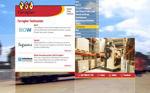 Screenshot of Testimonials Page farragher.com.au - Farragher Testimonials | John Farragher Transport - captured Oct. 6, 2014