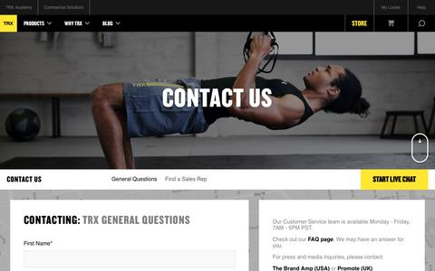 Screenshot of Contact Page trxtraining.com - Contact Us | TRX Suspension Training - captured Aug. 21, 2017