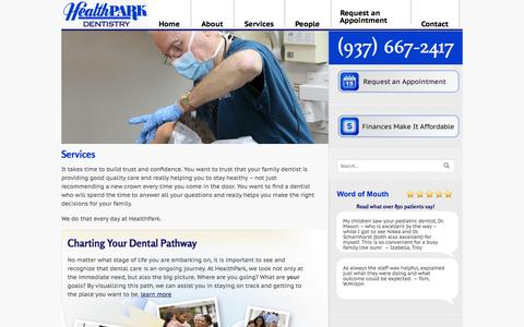 Screenshot of Services Page healthparkdentistry.com - Services | HealthPark Dentistry - captured Sept. 29, 2014