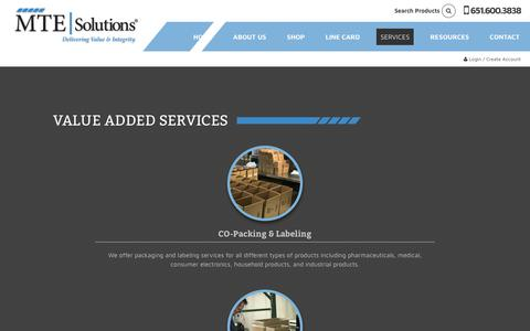Screenshot of Services Page mtesolutionsinc.com - Value Added Services - MTE Solutions Inc. - captured June 12, 2019
