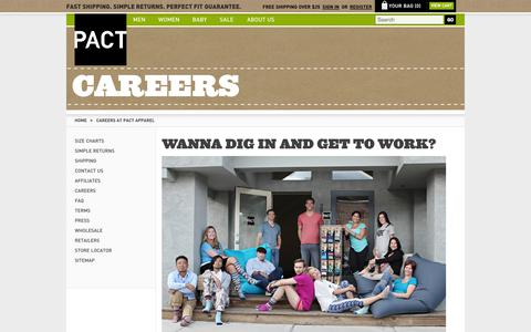 Screenshot of Jobs Page wearpact.com - Careers at PACT Apparel - captured June 16, 2015