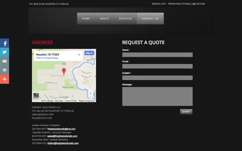 Screenshot of Privacy Page Contact Page freightsolutionsllc.com - Contact Us - captured Oct. 23, 2014