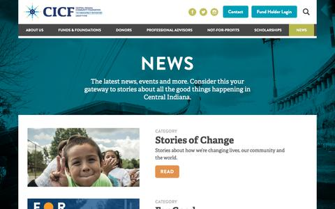 Screenshot of Press Page cicf.org - News - Central Indiana Community Foundation - captured Sept. 27, 2018