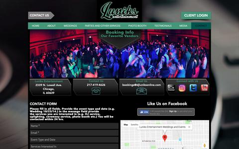Screenshot of Contact Page djluniksonline.com - Luniks Entertainment I Contact - captured Oct. 7, 2018