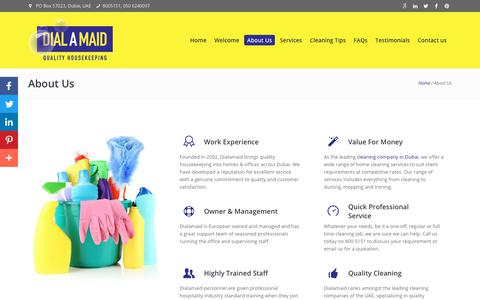 Screenshot of About Page dialamaid.ae - About Dialamaid - One of The Leading Housekeeping Company - captured Nov. 6, 2018