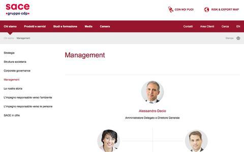 Screenshot of Team Page sace.it - SACE - Management - captured Sept. 27, 2017