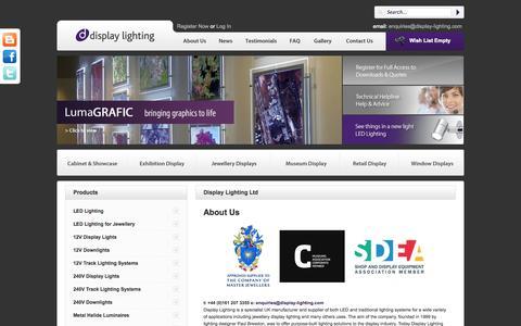 Screenshot of About Page display-lighting.com - jewellery display lighting, Shop Window Lighting and Display Cabinet Lighting - captured Oct. 5, 2014