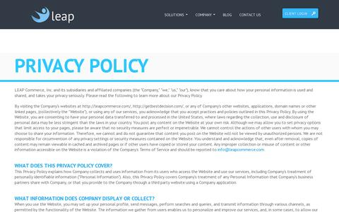 Screenshot of Privacy Page leapcommerce.com - Leap Commerce - captured July 19, 2014