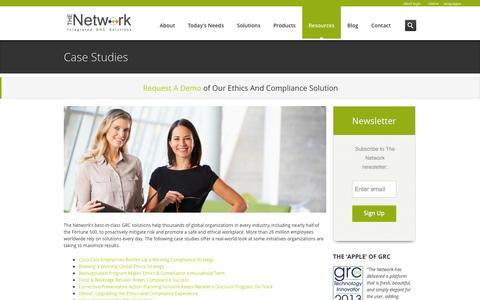 Screenshot of Case Studies Page tnwinc.com - The Network, Inc. Case Studies | GRC, Incident Management, Compliance - captured Nov. 4, 2014