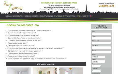 Screenshot of FAQ Page myparisagency.com - Tout savoir sur la location courte durée - My Paris Agency - captured Feb. 22, 2016