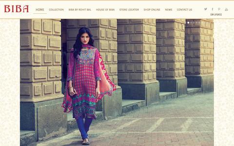 Screenshot of Home Page bibaindia.com - Welcome to the House of Biba - captured Sept. 13, 2014