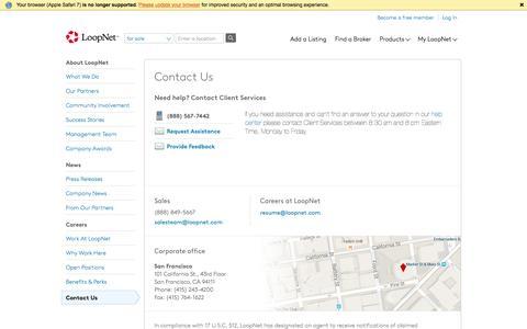 Screenshot of Contact Page loopnet.com - Contact us - LoopNet.com - captured July 3, 2016