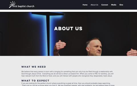 Screenshot of About Page fbcdefiance.org - First Baptist Church | About Us - captured Dec. 19, 2018
