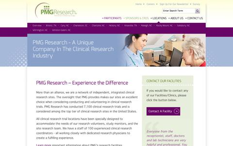 Screenshot of Locations Page pmg-research.com - Clinical Research Trials in North Carolina, South Carolina and Tennessee - PMG Clinical Research Trial Company - captured Oct. 1, 2014