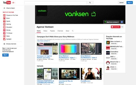 Screenshot of YouTube Page youtube.com - Agence Vanksen  - YouTube - captured Oct. 22, 2014