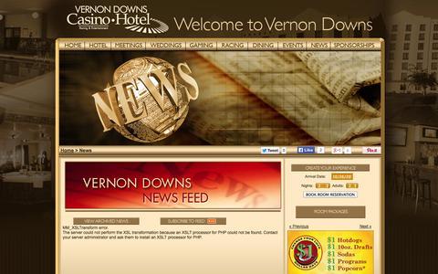 Screenshot of Press Page vernondowns.com - Vernon Downs Casino & Hotel - News - captured Oct. 26, 2014