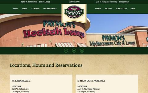 Screenshot of Locations Page paymons.com - Locations - Paymon's Mediterranean Cafe & Lounge - captured Oct. 28, 2016