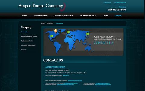 Screenshot of Contact Page ampcopumps.com - Contact Us | Ampco Pumps Company - Pumps, Blenders & Mixers - captured Oct. 4, 2014