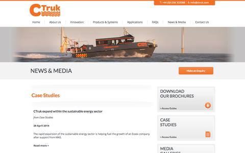 Screenshot of Case Studies Page ctruk.com - Case Studies | Fuel Efficient Catamarans | Bespoke High Speed Boats | CTruk Boats Ltd  - CTruk - captured Sept. 26, 2014