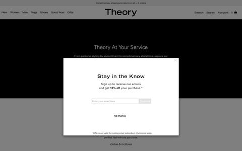 Screenshot of Services Page theory.com - Theory At Your Service - captured Nov. 7, 2018