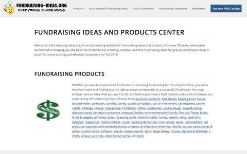 Screenshot of Home Page fundraising-ideas.org - Fundraising Ideas - Fundraising Products! - captured Sept. 23, 2018