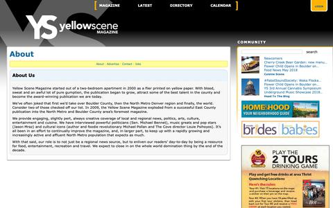Screenshot of About Page yellowscene.com - About – North Metro Diversions – North Metro Diversions – Yellow Scene Magazine - captured Oct. 20, 2018