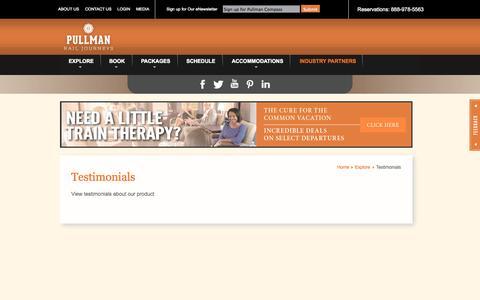 Screenshot of Testimonials Page travelpullman.com - Pullman Rail Journeys - captured Oct. 3, 2014
