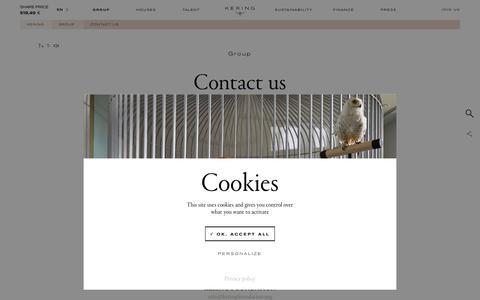 Screenshot of Contact Page kering.com - Contact us | Kering - captured April 9, 2019