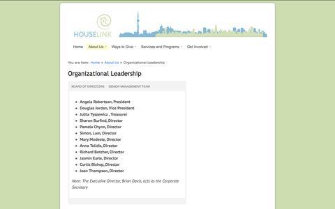 Screenshot of Team Page houselink.on.ca - Houselink Community Homes  |  Organizational Leadership - captured Oct. 3, 2014