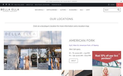 Screenshot of Locations Page bellaellaboutique.com - Bella Ella Boutique - Women's Clothing Utah Boutique Locations - captured Aug. 1, 2018