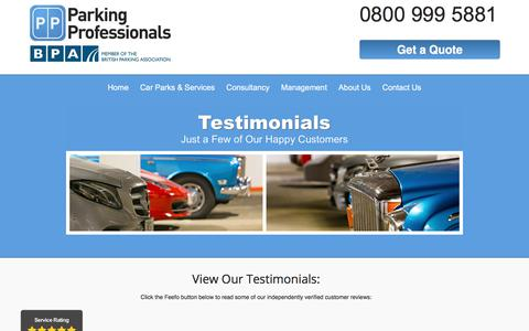 Screenshot of Testimonials Page parking-pros.co.uk - Testimonials for 1st class parking service | Parking Professionals - captured July 14, 2017