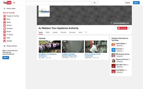 Screenshot of YouTube Page youtube.com - AJ Madison Your  Appliance Authority  - YouTube - captured Oct. 23, 2014