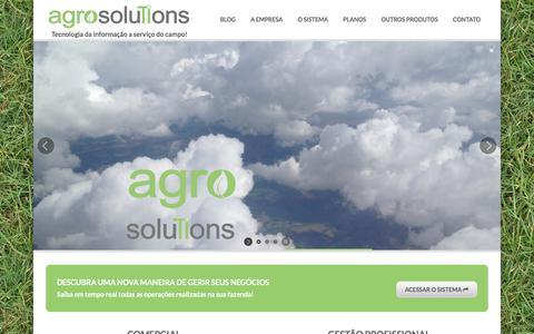 Screenshot of Home Page agrosolutions.agr.br - agrosolutions - Sistema Online de Gestão Agrícola (ERP) - captured July 31, 2018
