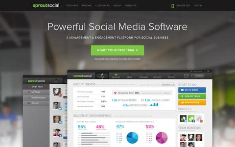 Screenshot of Home Page sproutsocial.com - Social Media Management Software | Sprout Social - captured Sept. 12, 2014