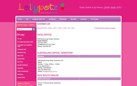 Screenshot of Locations Page lollypotz.com.au - Contact one of our many Lollypotz stores across Australia | Lollypotz - captured Sept. 30, 2014