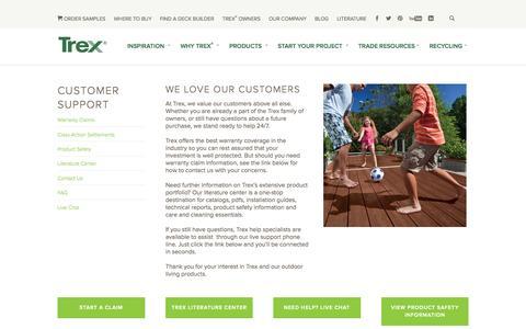 Screenshot of Support Page trex.com - Customer Support - captured Nov. 3, 2015