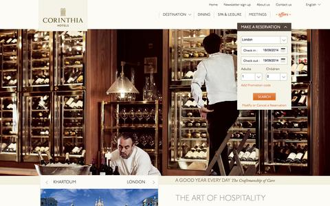 Screenshot of Home Page corinthia.com - Luxury Hotels   Corinthia Hotels   Luxury Rooms and Suites - captured Sept. 19, 2014