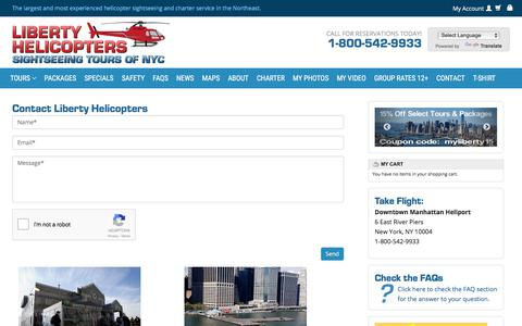 Screenshot of Contact Page libertyhelicopter.com - contact Liberty Helicopters New York - captured Aug. 5, 2017